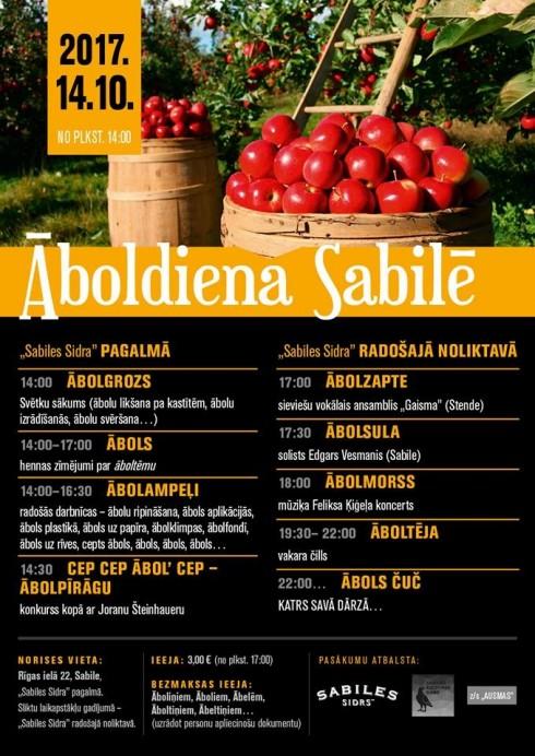 """14. oktobrī jau otro reizi Sabilē tiks svinēta """"Āboldiena"""""""