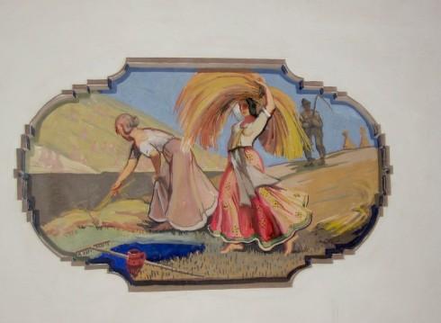 Griestu gleznojumi Abavas tautas namā Restaurācijas tēma